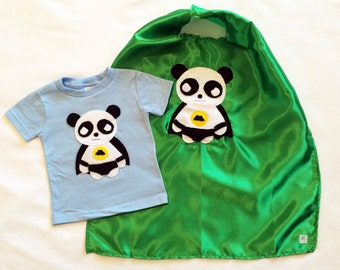 Superhero cape and toddler shirt combo - Team Super Animals - Flying Panda Blue T-Shirt & Green Cape combo