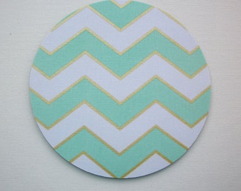 Mouse Pad mousepad / Mat - round or rectangle -  Shiny gold mint chevron - Computer Accessories Geekery Custom Desk Coworker Gifts Office