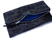 Polka Dot Foldover Zipper Clutch Large, Electric Blue Interior, Purse, Carry All, Handmade, Tablet Case