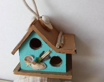 Coastal Living Mini Birdhouse , Perfect for Bird House Collectors , Aqua with seashells , Driftwood & Starfish Embellishments