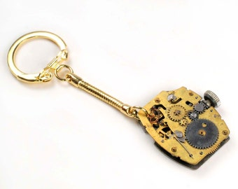 Steampunk Vintage Brass Watch Movement Key Chain