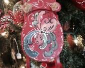 Scandinavian hand painted rosemaled sled ornament