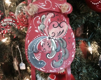 Scandinavian hand painted rosemaled sled ornament