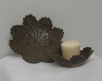 Handbuilt Duo of Cocoa Doily Impressed Shallow Bowls