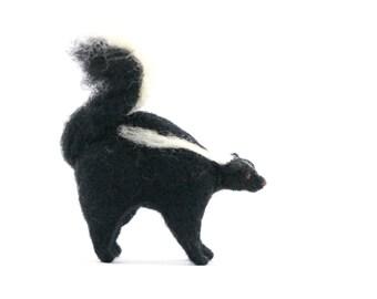 Felted Miniature Skunk, Standing Figure, Woodland Decor