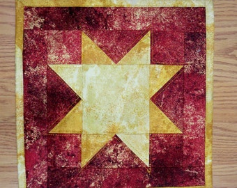 "Holiday quilted Table topper gold and maroon stars 11.5""X11.5"" candle mat"
