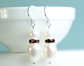 Pearl drop earrings with red Rhinestone spacer, white freshwater pearl dangle earrings, free shipping within Canada, gift idea, by art4ear