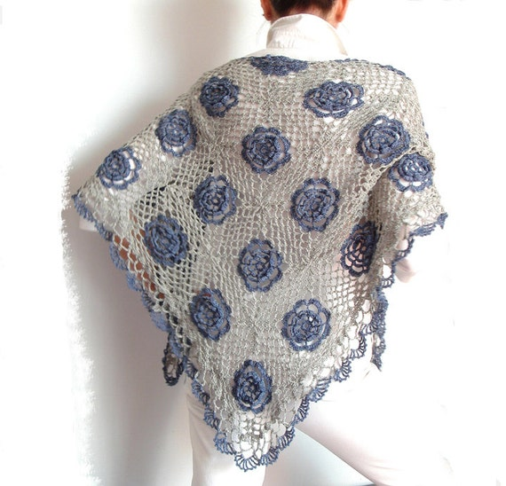 Lace Shawl Blue Jeans Rose