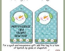 "Merry ""Kissmas"" and ""Chappy"" New Year Tag  - CU Digital Printable - Immediate Download"