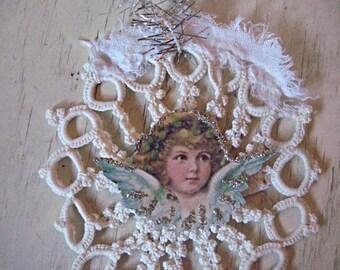 Victorian angel snowflake ornament snowflake Christmas ornament crocheted snowflake ornament, glitter snowflake tree decor, holiday ornament