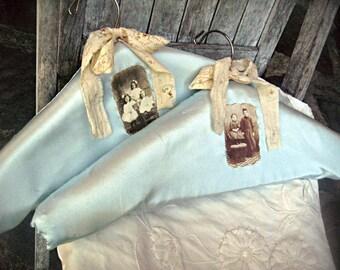 Set of 2 hangers, blue satin hangers, altered hangers, OOAK hangers, vintage photo hangers, dress display, clothing display handmade hangers