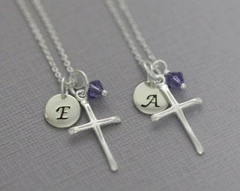 Christening Gift, Sterling Silver Cross Necklace, Tiny Cross Necklace, Personalized Cross Necklace, Baptism Gift Girl, Confirmation Gift