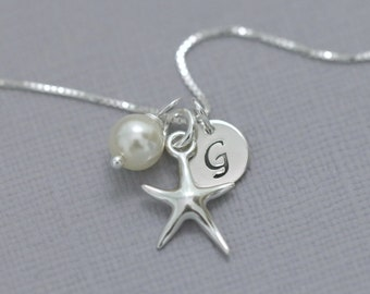 Starfish Necklace, Beach Wedding Necklace, Sterling Silver Starfish Necklace, Bridesmaid Gift, Bridesmaid Necklace, Gift for Her