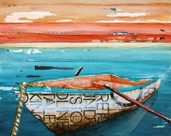 Nautical ART PRINT or CANVAS rowboat peaceful boat beach ocean coastal wall home decor mixed media collage summer gift for her, All Sizes