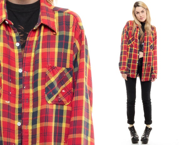 Red plaid shirt 80s grunge flannel button down distressed for Navy blue and red flannel shirt
