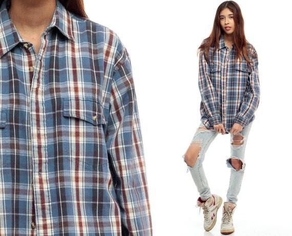 Flannel Shirt 90s Grunge White Light Blue Plaid Shirt By