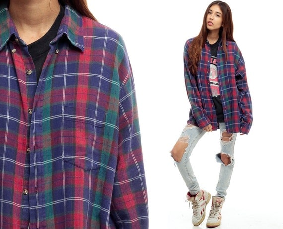90s Plaid Shirt Oversized Red Blue Flannel Shirt Grunge Up