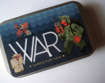 Card game for kids - WAR - with unique illustrations and a metal box