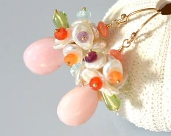Bouquet Earrings - 14k Gold Filled, Keishi Pearl Cluster, Multi Gemstone, Garnet, Citrine, Amethyst, Peridot, Aquamarine, Carnelian, Vermeil
