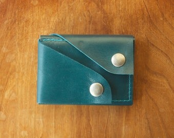 "Leather Wallet ""The Rawly"" in Teal Blue"