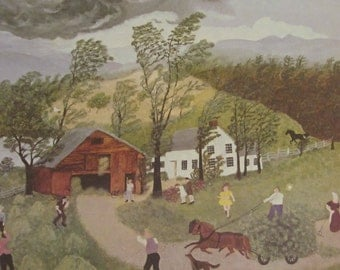 Grandma Moses- The Thunderstorm, 1948 Painting, Bookplate, Color Plate, 1973 Reproduction Print, 10 x 8.5 in