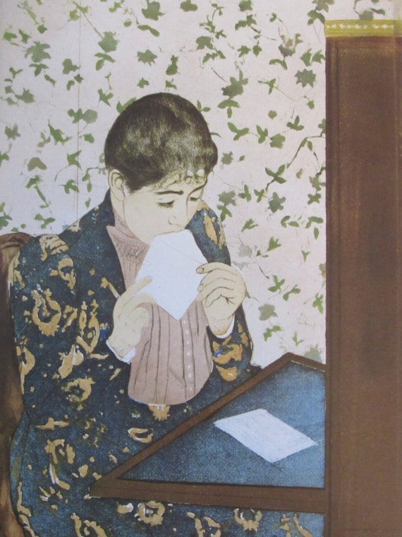 Mary cassatt the letter1891 color plate book print 6 5 x for Mary cassatt coloring pages