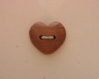Juniper Heart Button- Oregon Juniper Wood Button- Handmade Wooden Buttons- Eco Craft Supplies