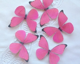 Bright Pink Morpho silk butterfly hair clip