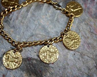 Zodiac Charm Bracelet Brass