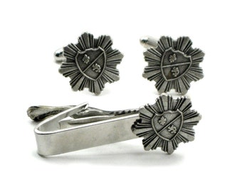 Medieval Shield Cufflinks and Tie Bar / Clip Set with Coat of Arms, Regal Lion, Fleur de Lis and Pinstripes - Steampunk, Military Wedding