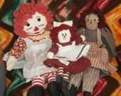 """DOLLS: Boyd's Primitive Olde Raggedy Ann Doll,Raggedy Ann with """"I Love U"""" Heart and Artex Face Raggedy Ann"""