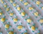 Vantona Yellow Rosebuds Vintage Cotton Chenille Bedspread Fabric 18 x 24 Inches