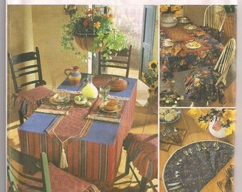 Table Accessories Simplicity 8350, Placemats, Table Runner, Table Cloth, Chair Seat Pad, Napkins, Silverware Caddy, Home Decor Pattern