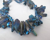 Titanium Blue Quartz with Crystals Necklace and Earrings