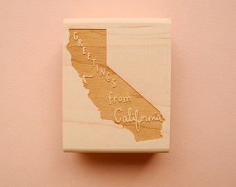 Greetings from California State Original Hand Lettered Rubber Stamp