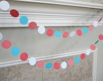 Beach Wedding Corals Turquoise and White Photo Backdrop Paper Garland Birthday Party, Nursery, Baby or Bridal Shower Decorations 10 feet