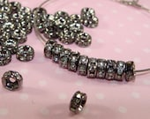 36 TINY Gunmetal 5mm Rhinestone Spacer Beads Black Rhinestone Disc Crystal Rondelle Spacer (44802) Jewelry Supplies Findings Accent Bead