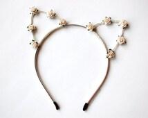 Floral Cat Ears Headband in Ivory White for Coachella, Music Festival, Folk Fest, Bonnaroo, Osheaga,
