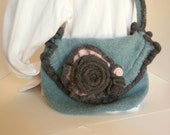 Turquoise and Gray Felted Purse with Pink and Gray Flowers