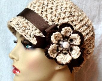 Crochet Womens Hat, Newsboy, Oatmeal, Soft Acrylic, Flower, Brown Ribbon, Warm, Teens, Spring Hat, JE111N7
