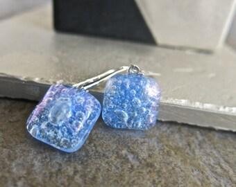 Medium Blue Fused Glass Earrings