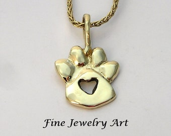 14k Solid Gold Paw Print Necklace with Center Heart Cut -Out Handmade Sculpted Original Pendant Design Pet Memorial - Love Momento - Symbol