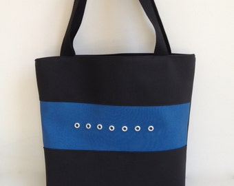 Large Tote in Black and Blue - Free US Shipping