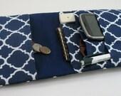 Medical Pocket Organizer - Nurse Scrubs Pocket Case - Two Sizes to choose from - Navy Blue Quatrefoil Pattern - Cargo Pocket insert