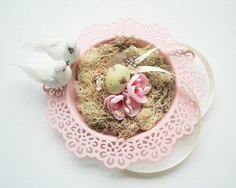 Love Nest Ring Bearer Pillow, Dove Birds Nest, Apple Blossom Nature Ring Bearer, Woodland Rustic Shabby Chic Weddings, Pale Pink Ivory