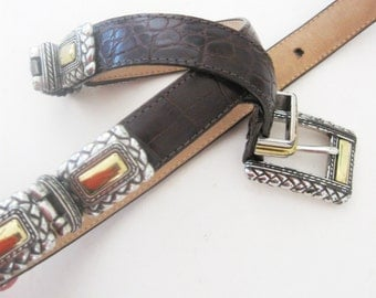 Vintage Brighton Belt Cowgirl Belt Leather Croc Embossed Print Western Metal Gold Silver Small