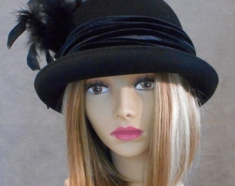 Layla Bowler Hat, Fur Felt Hat, Downton Abbey riding hat