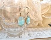 spring rhinestone jewel earrings blue givre dangles shabby chic feminine