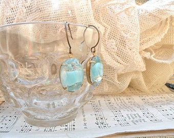 spring rhinestone jewel earrings blue givre dangles shabby chic feminine