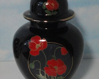 Black Ceramic  Ginger Jar with Red Poppies and Gold. Urn, Japan